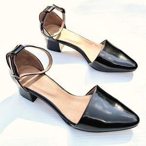 J. JILL black patent leather low block heels